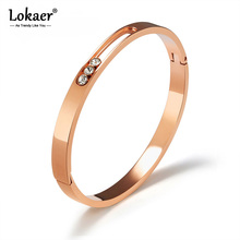Lokaer Stainless Steel Cuff Bangles Bracelets For Women Hollow Design Inlaid Rhinestone Rose Gold Charm Bracelet Jewelry B18092