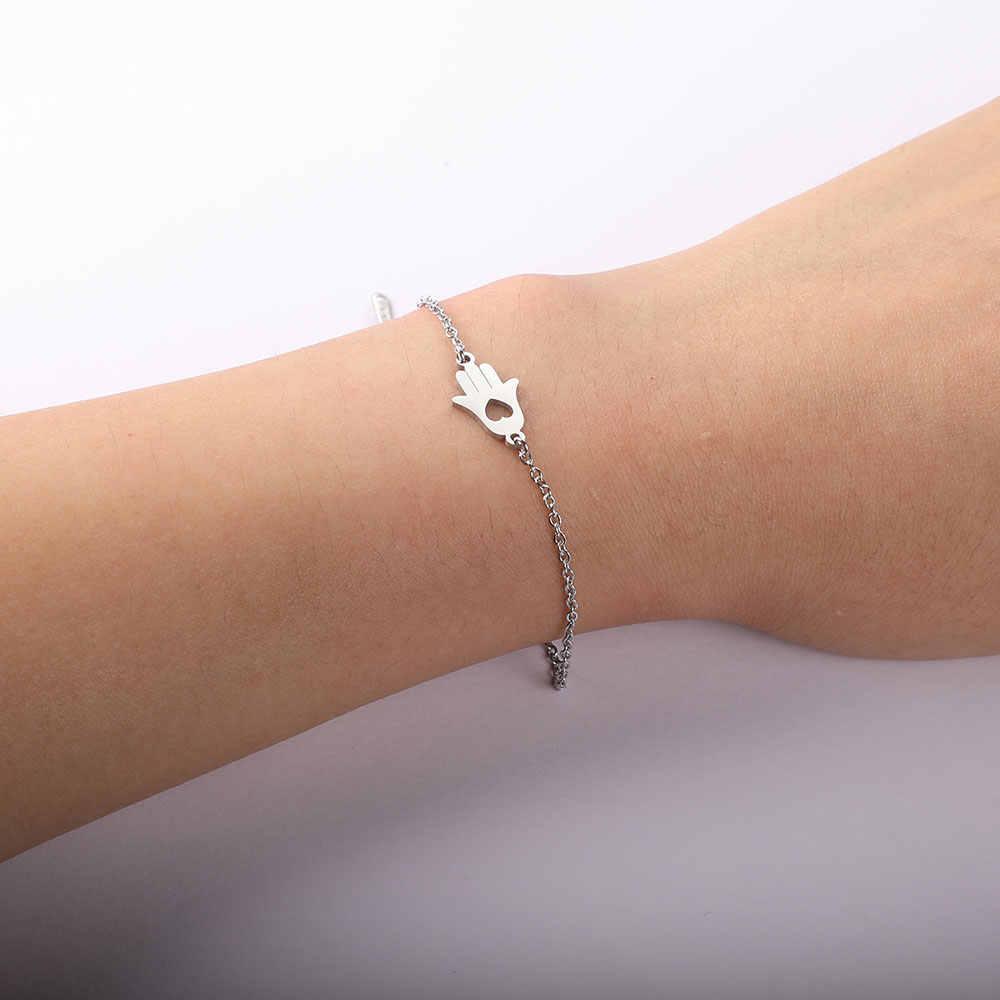 AAAAA คุณภาพ 100% สแตนเลส Hamsa Hand Charm สร้อยข้อมือผู้หญิงหญิงสูงภาษาโปลิชคำ Charms สร้อยข้อมือ