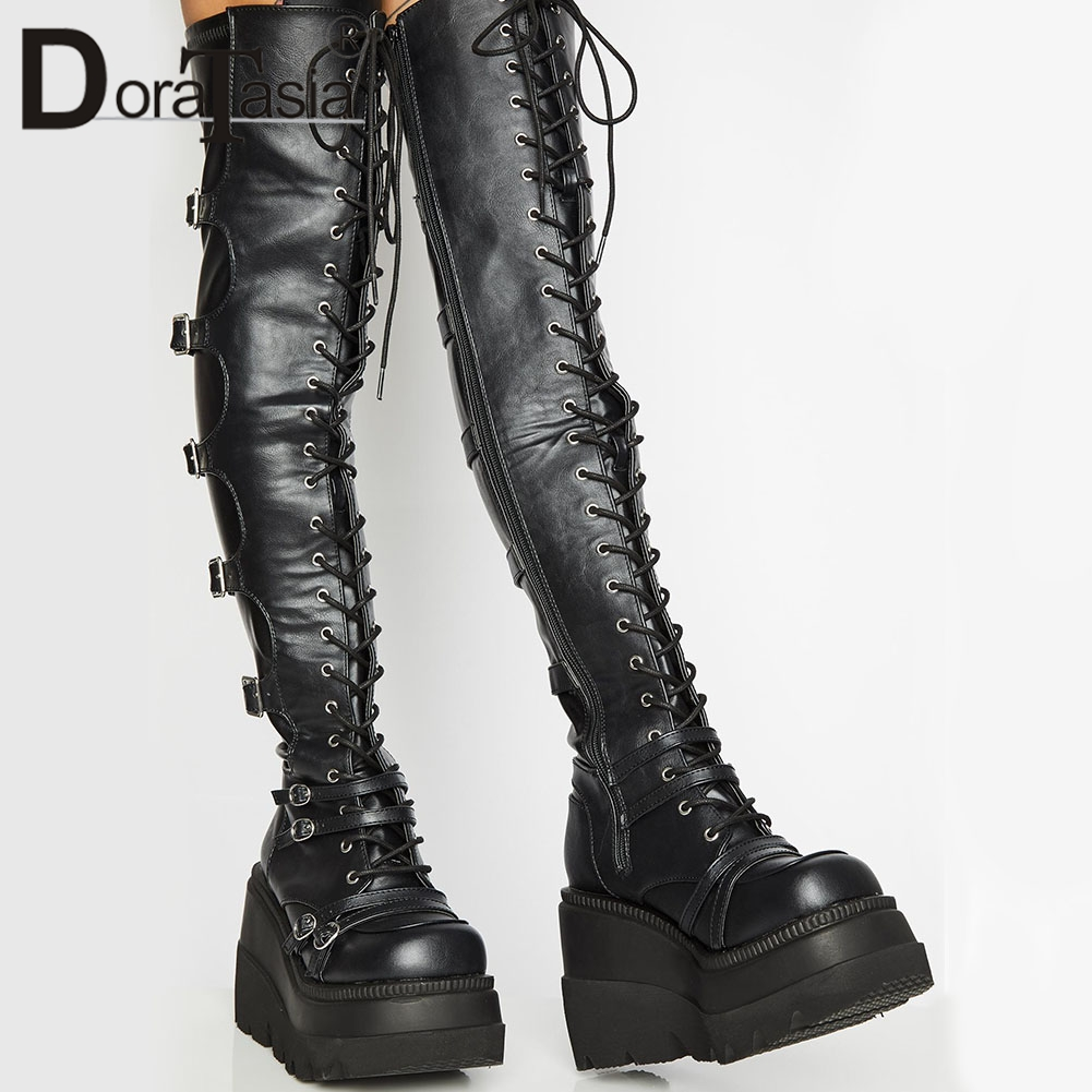 Brand Design Female High Platform Thigh High Boots Fashion Buckle Punk High Heels Boots Women Cosplay Wedges Shoes Woman