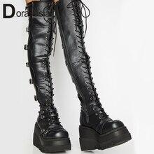 Botas hasta el muslo con plataforma alta para mujer, zapatos de tacón alto con hebilla Punk a la moda, cuñas de Cosplay, diseño de marca