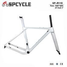 цена на New Design White Color Carbon Gravel Bike Frame, Gravel Carbon Bicycle Frame, Cyclocross Frame Thru Axle 142x12mm or 135x9mm