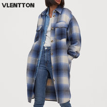2020 autumn winter oversize vintage plaid tweed long jackets