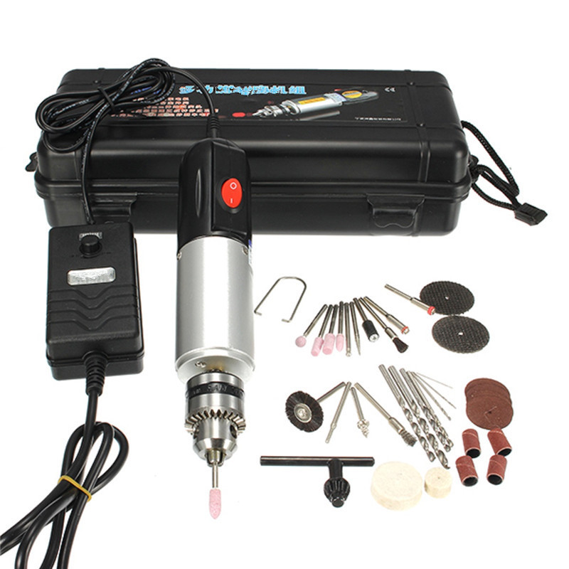 220V 72W Micro Electric Hand Drill Adjustable Variable Speed Electric Drill Electric Grinder Set Aluminum Alloy With Box