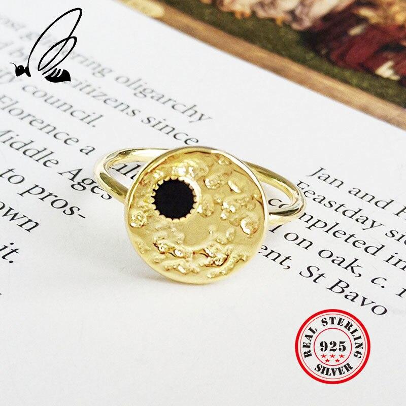 925 Argent Sterling Anel pour femmes or Vintage réglable Bague Femme Argent Couple anneaux mariage bande accessoires Bijuteria
