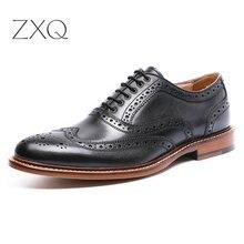 Ручной Работы Мужские Ботинки Из Натуральной Кожи Платье Обувь Черный Резной Баллок Дизайнер Оксфорд