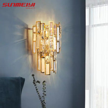 Nordic Led Wall Lampen Crystal Slaapkamer Licht Goud Home Verlichting Voor Woonkamer Gang Badkamer Trappen Lamp Industriële Decor(China)