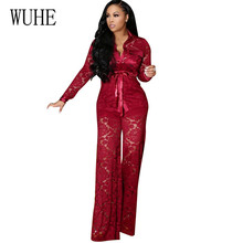 WUHE Lace Two Pieces Sets Sexy Elegant Overalls Rompers Stylish Turn-down Neck Long Sleeve Overall Trousers Party Playsuits