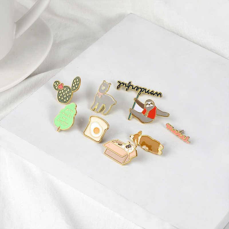น่ารัก Pins แมว Corgi Alpaca Sloth แคคตัสไข่เข็มกลัดป้ายกระเป๋าเสื้อผ้าเคลือบ Pins ของขวัญน่ารักเพื่อนเครื่องประดับขายส่ง