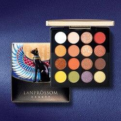 LANPROSSOM-paleta de sombras de ojos, 16 colores, Egipto, holográfico brillante, pigmento brillante mate, paleta de maquillaje