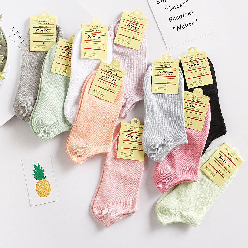 1Pair Fashion Invisibility Colored Cotton Sock All-Match Boat Socks Candy Color Girl Woman Casual Socks