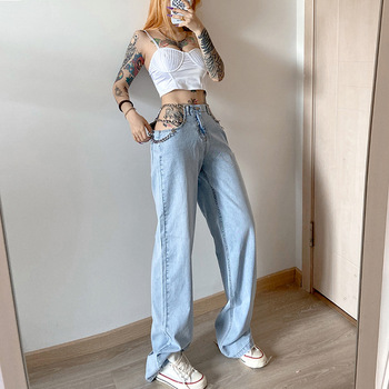 Women's Jeans Denim Pants Fashion Casual Summer New Hollow Out High Waist Loose Straight Streetwear Zipper Front Pocket Bottoms 2019 autumn new loose cotton bomb fashion trend wild high waist jeans woman multi pocket zipper hole straight denim pants women