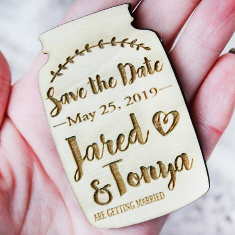 Mason Jar Magnet Save the Date, Rustic Wood Wedding Announcements, Engagement ideas,Wedding Magnet personalize image