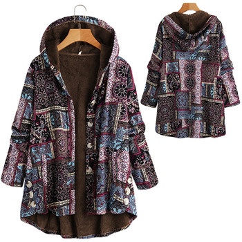 Women Winter Floral Printed Coat Vintage Harajuku Plus Size Loose Casual Jackets Plus Velvet Thick Warm Hooded Fashion Coat 8