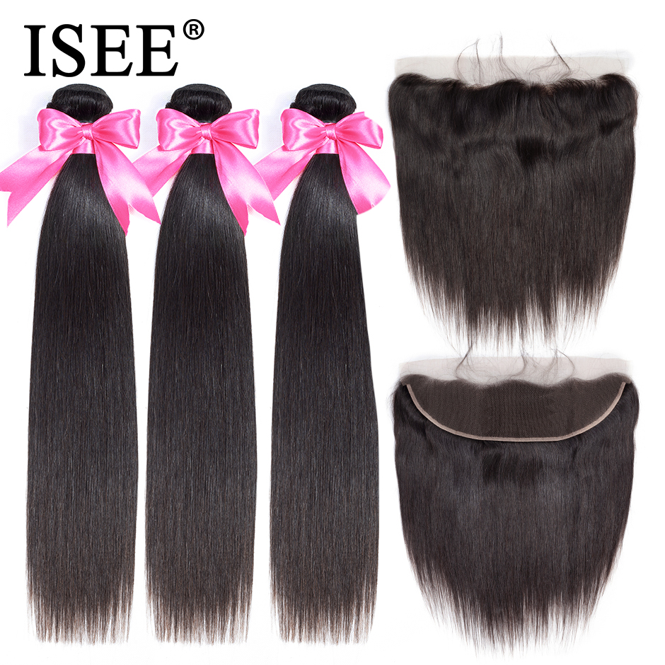 ISEE HAIR Straight Human Hair Bundles With Frontal 13*4 PrePlucked Lace Frontal Remy Peruvian Straight Hair Bundles With Closure