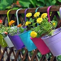 10pcs/set Flower Pots 10*10*15cm Colorful Flower Pots Hanging Balcony Window Garden Iron Decoration Supplies
