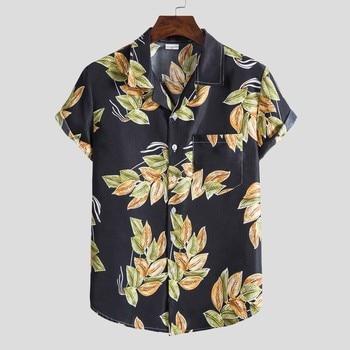 Hawaiian Printing Shirt Men Short Sleeve Fashion Ethnic Button Down Shirt Men Casual Shirt Blouse Tops Streetwear Chemise Homme hawaiian shirt male short sleeve casual shirt for men fashion stripe blouse men summer new