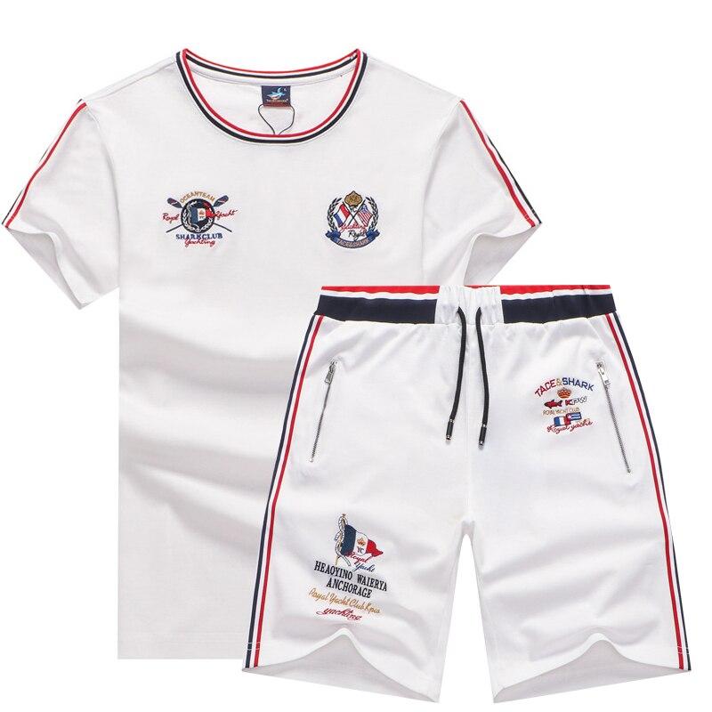 Summer 100% Cotton two piece sets men's tracksuits husband Tace Shark brand tshirt men's shorts track suits jogging sweatpants
