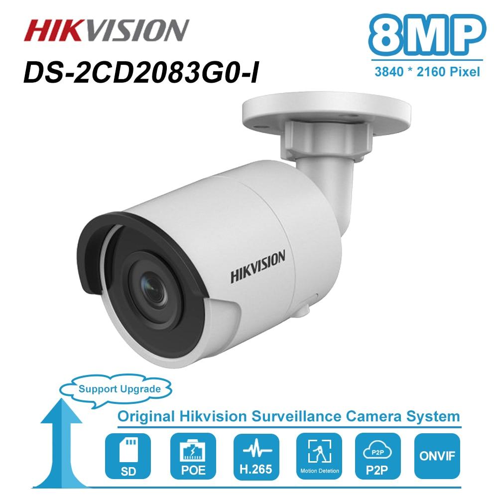 Hikvision 8mp 4k bala câmera ip poe casa/ao ar livre à prova de intempéries vídeo cctv segurança vigilância visão noturna DS-2CD2083G0-I