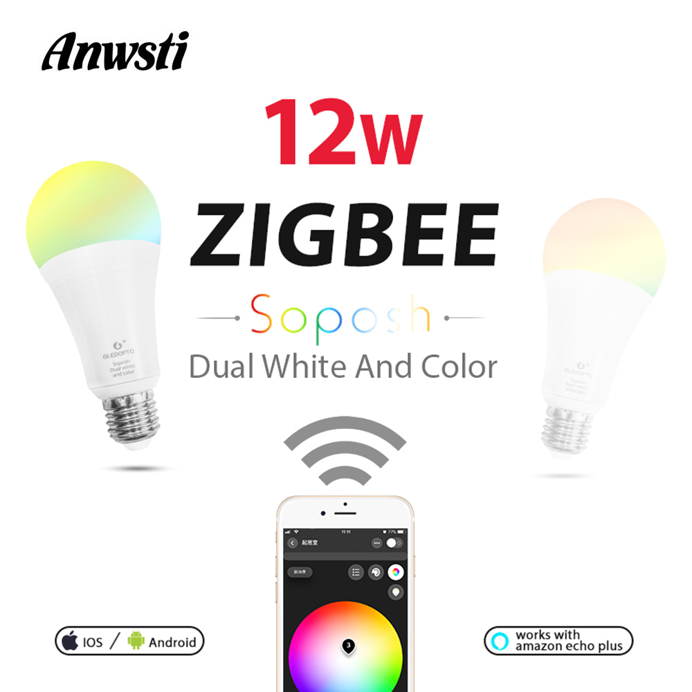 GLEDOPTO RGBCCT Zigbee LED Bulb 12W 220V 230V 110V AC E26 E27 Smart Light Lamp Dimmable Work with Amazon Alexa Echo Plus