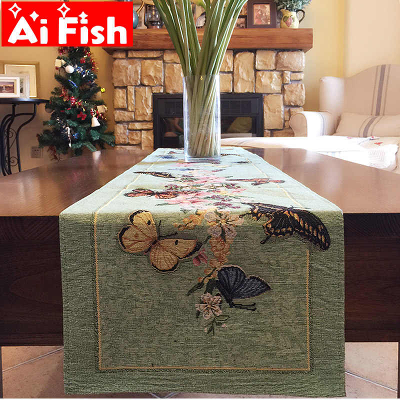 Idyllic American Butterfly Embroidered Dining Table Desk Decoration TV cabinet coffee Table Flag Cover Towel Cloth A59-40