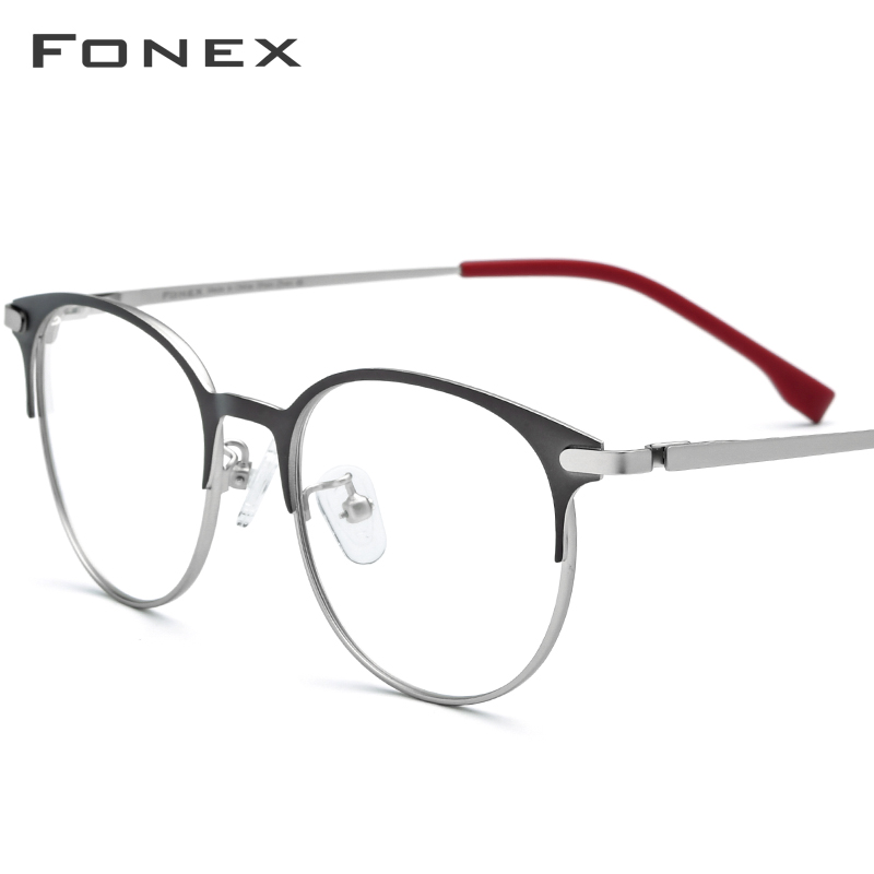 FONEX Alloy Glasses Men Ultralight Women Vintage Round Eyeglasses Frame Retro Prescription Optical Screwless Eyewear 988