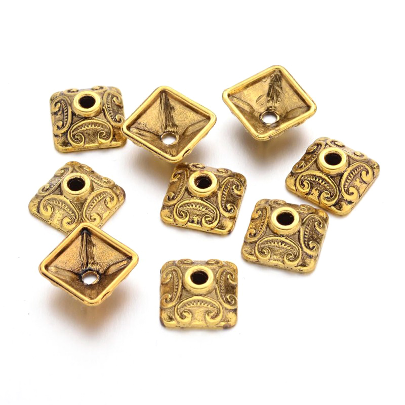 50pcs 10mm Alloy Square Bead Caps Spacer For Jewelry Making DIY Charm Necklace Bracelet