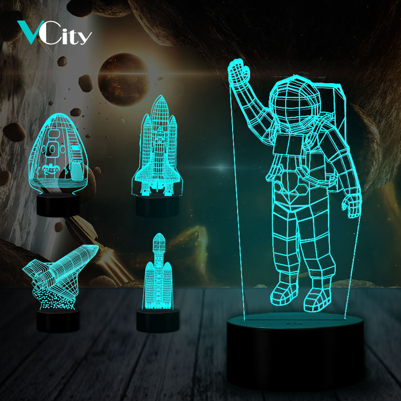 VCity Astronaut Rocket 3D USB LED Nightlight Hologram Illusion Unique Lamp Gift For Kid Friends Home Bedroom Sleeping Decoration
