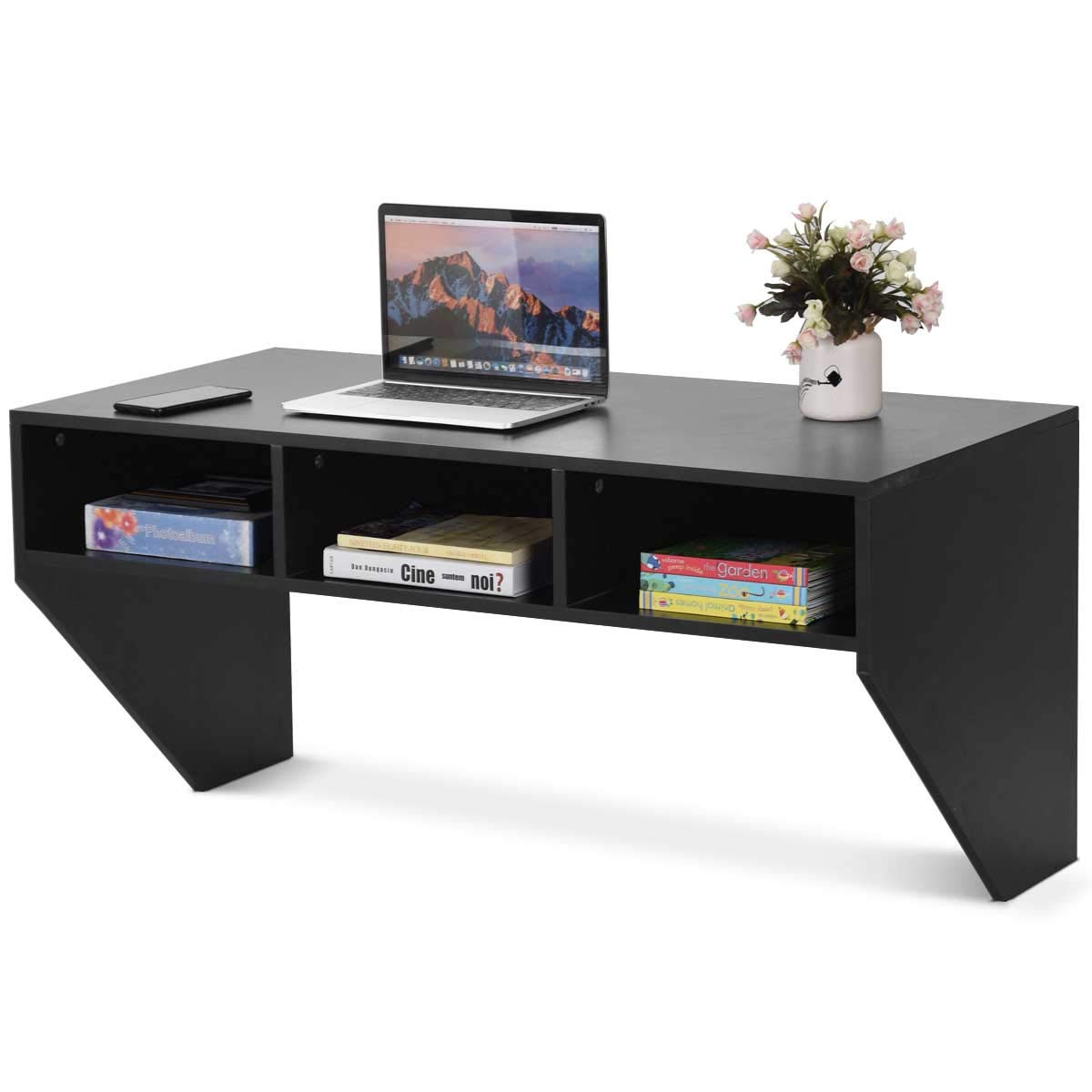 Shelf Computer-Table Floating Desk Costway Storag Wall-Mounted Office Furni Sturdy Home