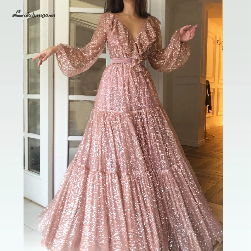 Glitter Sequin Pink Prom Dress 2020 Bling Bling Dubai Long Sleeve Evening Party Gowns Vestido Formatura Sexy Women Formal Dress