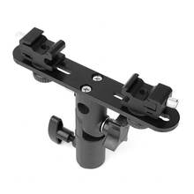 RISE Dual Flash Bracket Hot Shoe Speedlight Stand Umbrella Holder Light Stand Bracket Mount 1/4 inch To 3/8 inch Compatible With