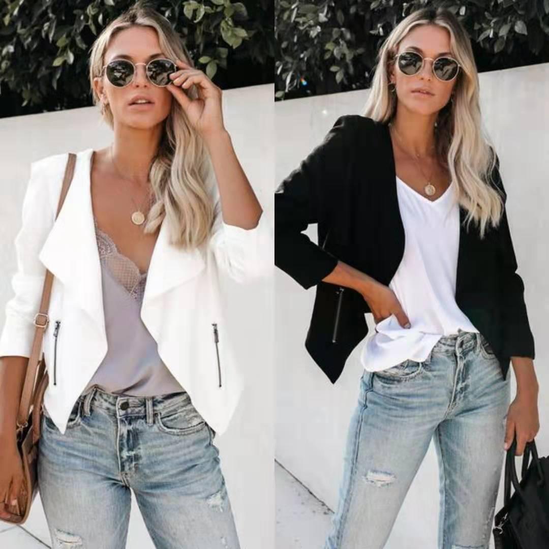Women Blazer Womens Tops Fall 2018 Casual Winter Clothes Gothic Blazers 2019 Harajuku  Pockets White Girl Jackets Plus Size