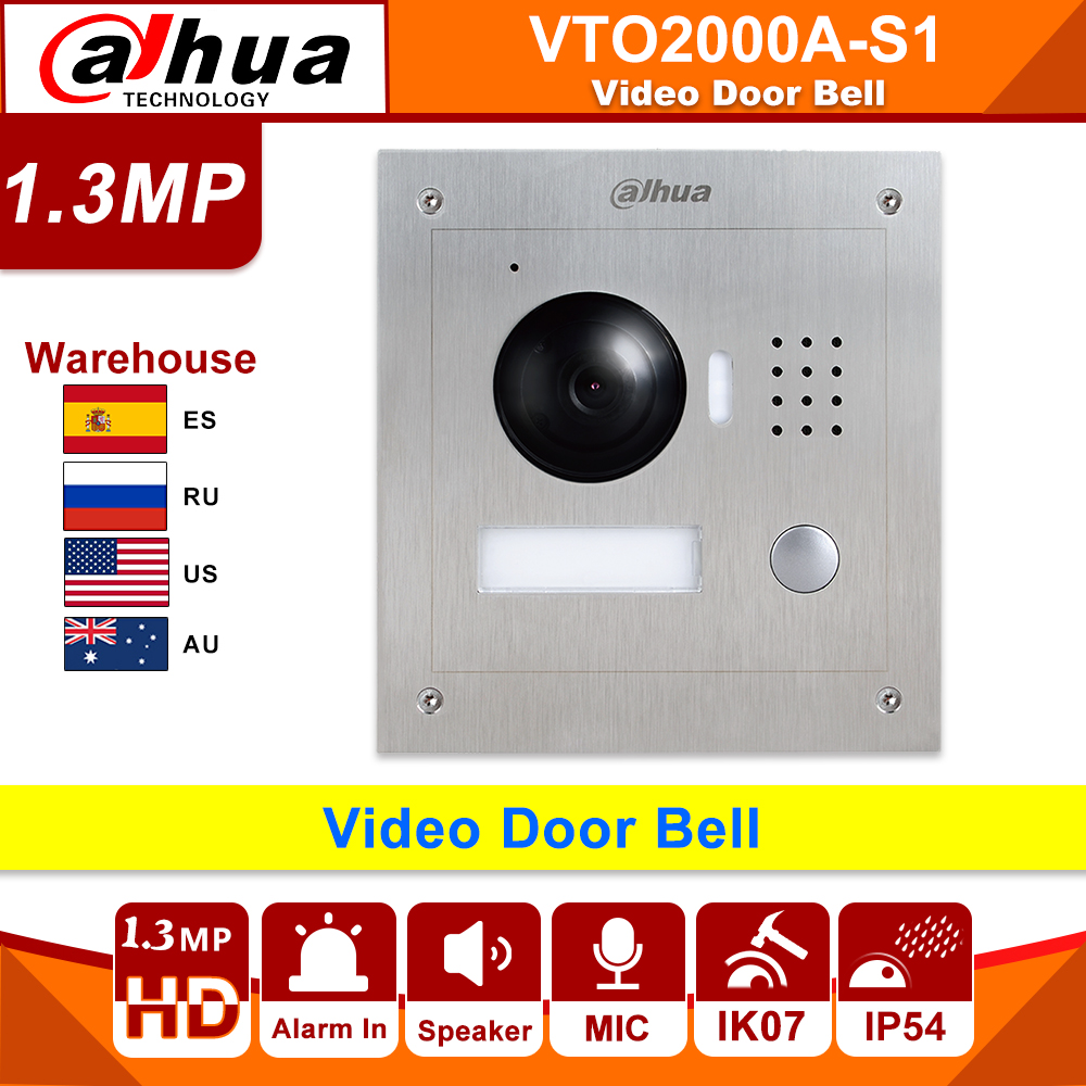 Original Dahua Video Door Bell VTO2000A-S1 POE Metal IP Villa Outdoor Station Video Intercom Night Vision Replace DH-VTO2000A