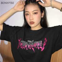 T-shirts Women Summer Ulzzang Harajuku Retro Letter Loose All-match Simple Trendy Casual O-Neck Breathable Womens Short-sleeve