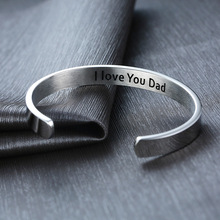 Bangles Bracelets I-Love-You Gifts Tone Stainless-Steel Dad-Cuff ZORCVENS for Pulseira