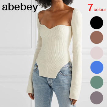 2020 new spring and summer fashion women clothes cashmere sqaure collar full sleeves elastic high waist sexy pullover WK080