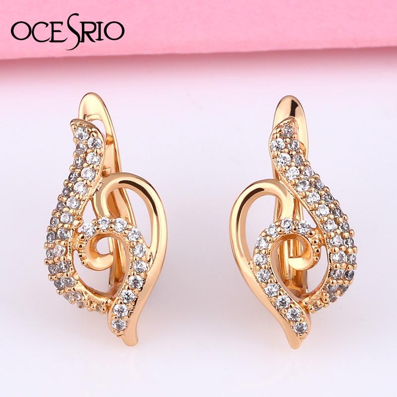 OCSERIO New Geometric Note Earrings Gold Earrings With Stones 585 Gold  Zircon Dangle Women Wedding 2020 Earring Ers-t27