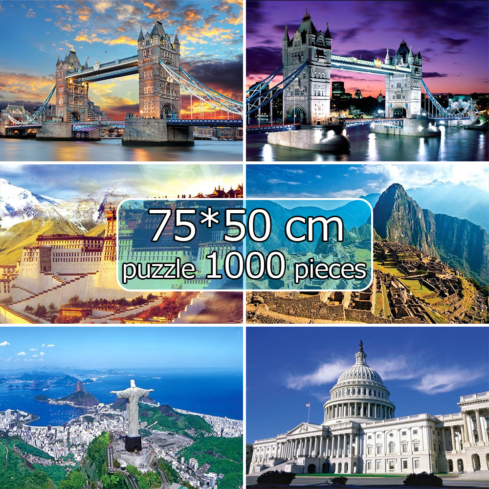 75*50 Cm Puzzle 1000 Pieces World Famous Landscape Pattern Adult Puzzle Adulto Educational Toys For Children Puzzles Kids пазлы