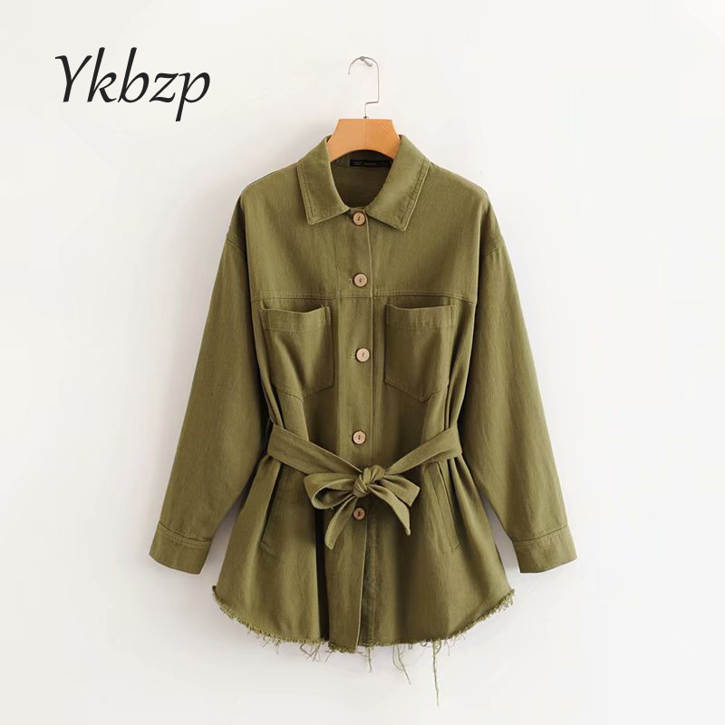 2019 Women Chic Solid Loose  Bow Tie Sashes  Single Breasted Coat Female Outwear Fashion Tops