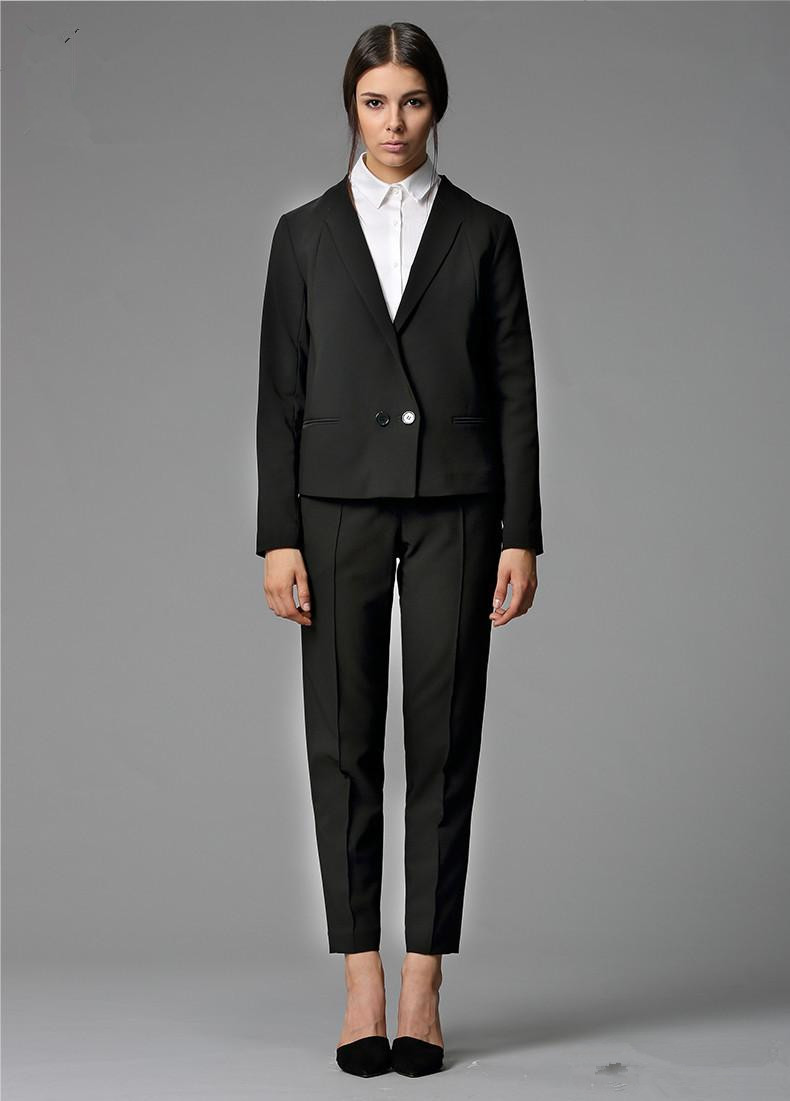 Custom Made Black Bussiness Formal Elegant Women Suit Set Blazers Pants Office Suits Ladies Pants Suits Jacket+Pants