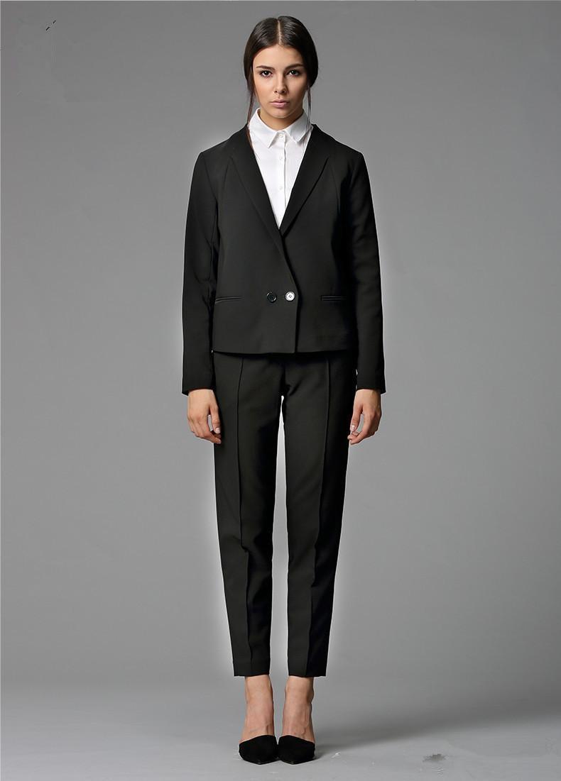Custom Made Black Bussiness Formal Elegant Women Suit Set Blazers Pants Office Suits Ladies Pants Suits Jacket+Pants