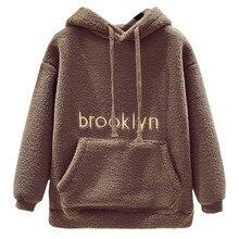 Women Autumn Winter Fashion Fleece Warm Hoodie Pullover Long Sleeve Plush Thicker Sweatshirt