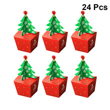 24 Pcs Christmas Paper Boxes Fashion Portable Candy Boxes Chocolate Boxes Gifts Packing Boxes for Holidays Festivals Banquet(China)