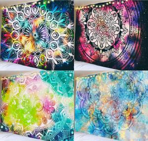 Mandala Tapestry Wall Hanging Flame Esoterics Witchcraft Bedroom Living Room Boho Decor Polyester Hippie Tapestries