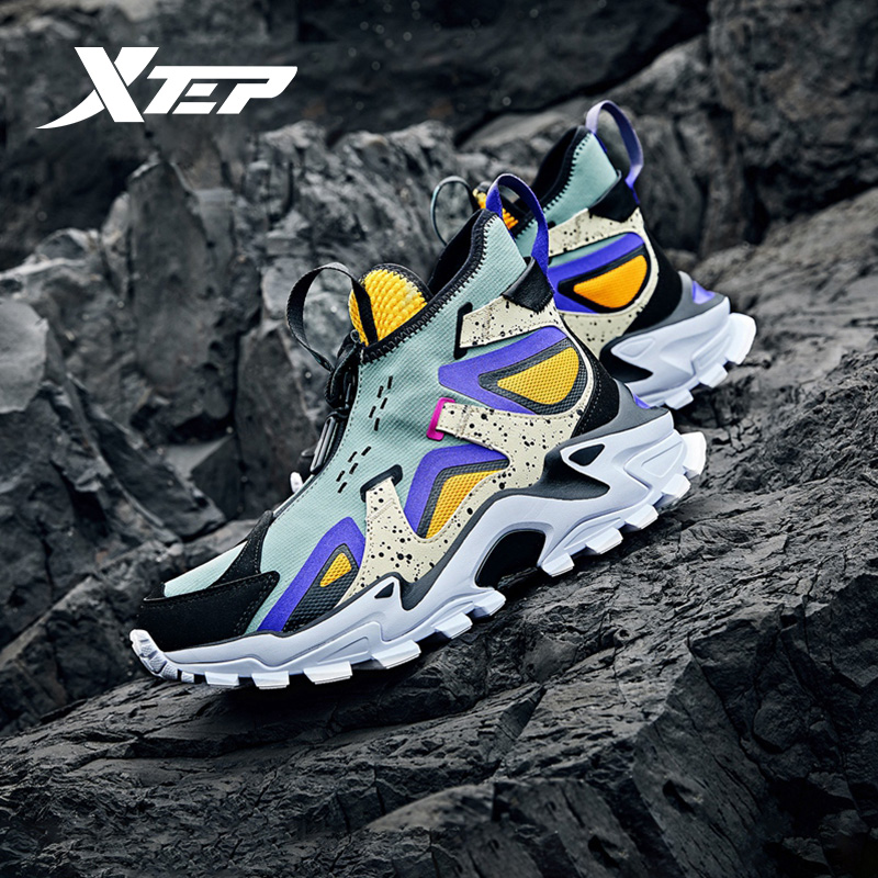 Xtep [Blackbird-ZIRCON] Men Casual Shoes Fashion High Cut Chunky Sneakers Comfortable Waterproof Male Sport Shoes 981419392986