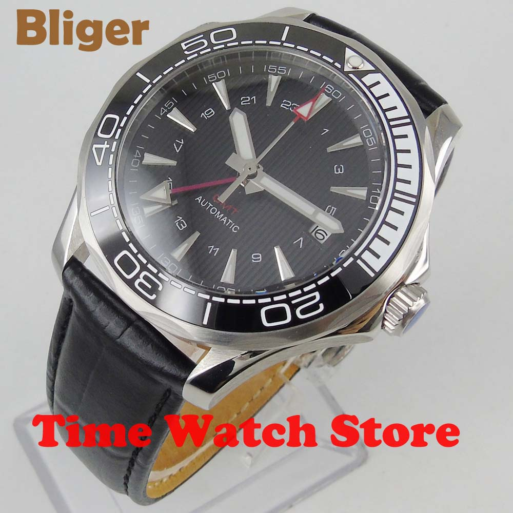 2019 New 41mm Bliger GMT 3804 Automatic watch men sapphire glass 3ATM waterproof Black dial leather strap luminous