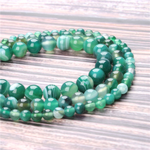 Hot Sale Natural Stone Green Striped Agate Beads 15.5 Pick Size: 4 6 8 10 mm fit Diy Charms Beads Jewelry Making Accessories