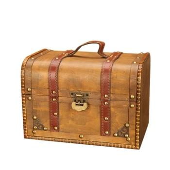 Vintage duży rozmiar Retro drewniane pudełko do przechowywania biżuterii pierścień naszyjnik bransoletki kolczyki Organizer Case z zamkiem biżuteria trumna
