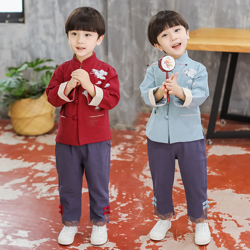 Children's Tang Costume Hanfu 한푸 Spring Autumn Boys Casual Suit Baby Cotton And Linen Children's Clothing Costume Boy Clothing