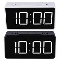 الرقمية مرآة LED شاشة إنذار على مدار الساعة الإلكترونية الوقت درجة الحرارة التقويم منبه للمنضدة على مدار الساعة USB شحن مكتب طالب الساعات