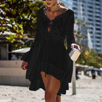 Loozykit 2019 Women Crochet Knitted Cover Up Dress Beach Tunic Long Pareos Bikini Cover Bathing Suits Beachwears Robe Plage 13